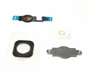 Home-Button-KOMPLETT-Set-fuer-iPhone-5-Taste-Knopf-Dichtung-Homebutton-Flex-weiss