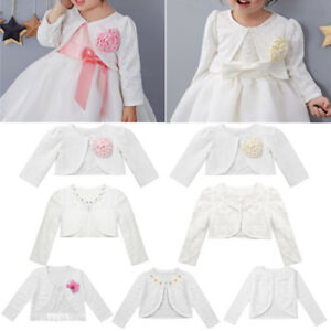 09a73bea9 Girls Long Sleeve Bolero Shrug Kids Baby Jacket Cardigan Top Wedding ...
