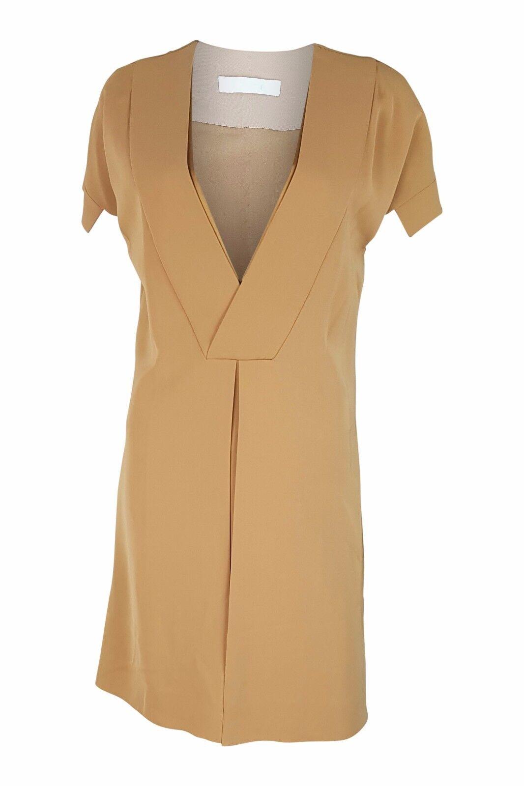 CHLOE DEEP V FRONT SILK SHIFT DRESS (10)