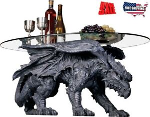 Details About Best Coffee Table Oval Gl Top Ground Unique Home Furniture Dragon Sculpture