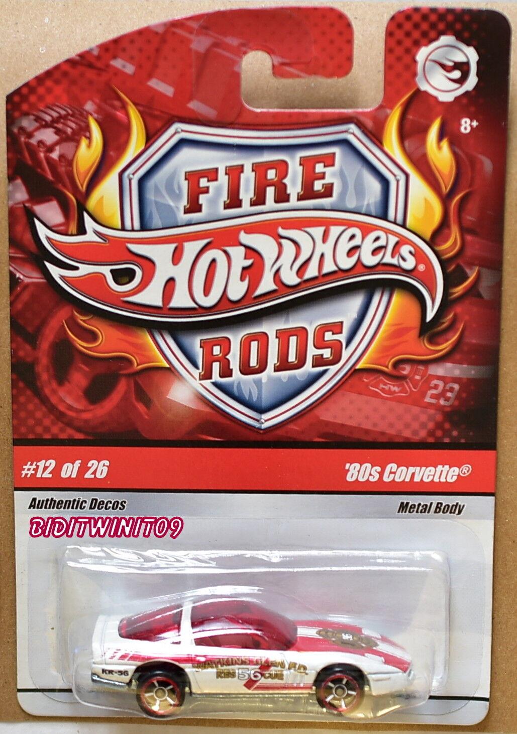 Hot Wheels Wheels Wheels Fuoco Rods ' 80s Corvette  12 26 Rosso & Bianco con + 5c6652