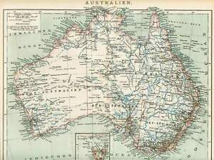 Details zu AUSTRALIEN Tasmanien Queensland LANDKARTE von 1897 New South  Wales Australia MAP