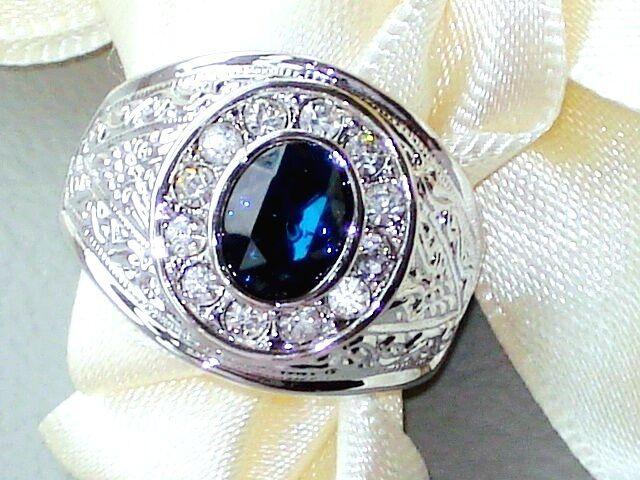 Ring GESCHENK DAMEN & HERRENRING WEIßGOLD GOLD KRGP* SAPHIR ROYAL BLAU