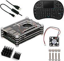 5 in1 Kit for Raspberry Pi 3/2 Case+Fan+Wireless Keyboard+USB cable+heatsink