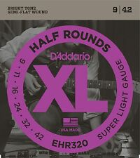 D'Addario Guitar Strings  Electric  EHR320   Half Round Super Light  9-42