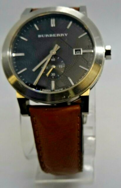 Burberry Men S The City Swiss Black Dial Brown Leather 42mm Watch Bu9905