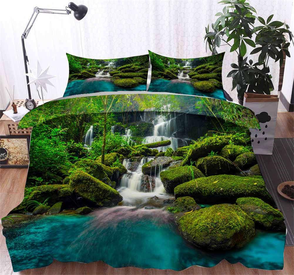 Moss Slippery Wood 3D Printing Duvet Quilt Doona Covers Pillow Case Bedding Sets