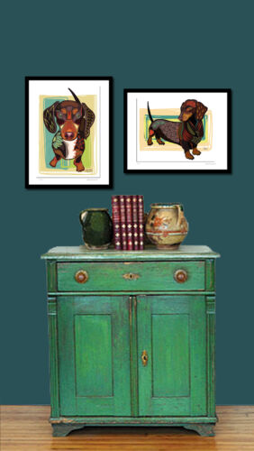 Numbered SFASTUDIO Dog Dachshund Doxie Artist  Print  of Original Fun Signed