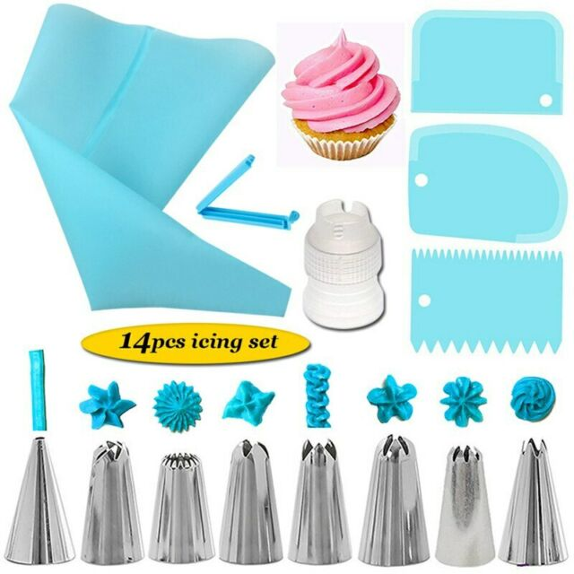 4pcs Silicone Reusable Icing Piping Cream Pastry Bag Tools Cake Decorating M2R2