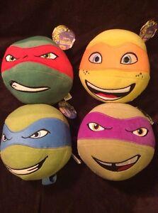 Teenage-Mutant-Ninja-Turtle-Head-Plush-Ball-Lot-Raphael-Leonardo-Donatello-TMNT