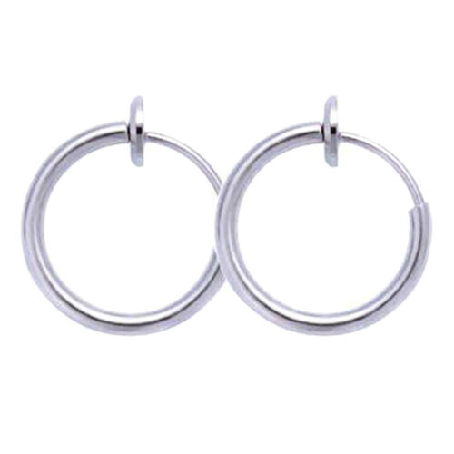 Hot Retractable Stainless Steel Simple Round Circle Earrings No Need Piercin
