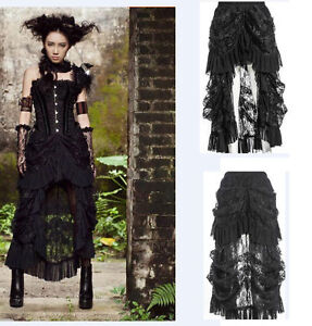 Steampunk-Gothic-Long-Skirt-Lace-Layers-Ruffle-Dark-Rock-Emo-Dovetail-Lady-Dress