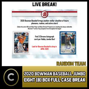 2020-BOWMAN-JUMBO-BASEBALL-8-BOX-FULL-CASE-BREAK-A704-RANDOM-TEAMS