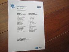 2014-15 Campeonato de Brighton & Hove una V Leeds United V Equipo Oficial De Hoja