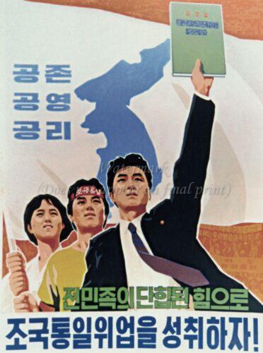 #D126 A3 North KOREA Anti-American Propaganda Poster Print REUNIFICATION