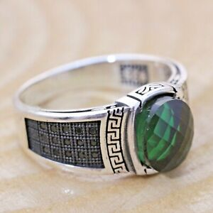 925 Sterling Silver Handmade Authentic Turkish Emerald Men/'s Ring Size 7-13
