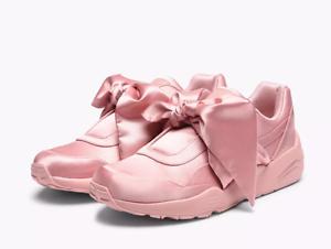 Puma Rihanna fenty Bow scarpe da ginnastica da donna Argento Raso Rosa 365054 01 Varie Taglie