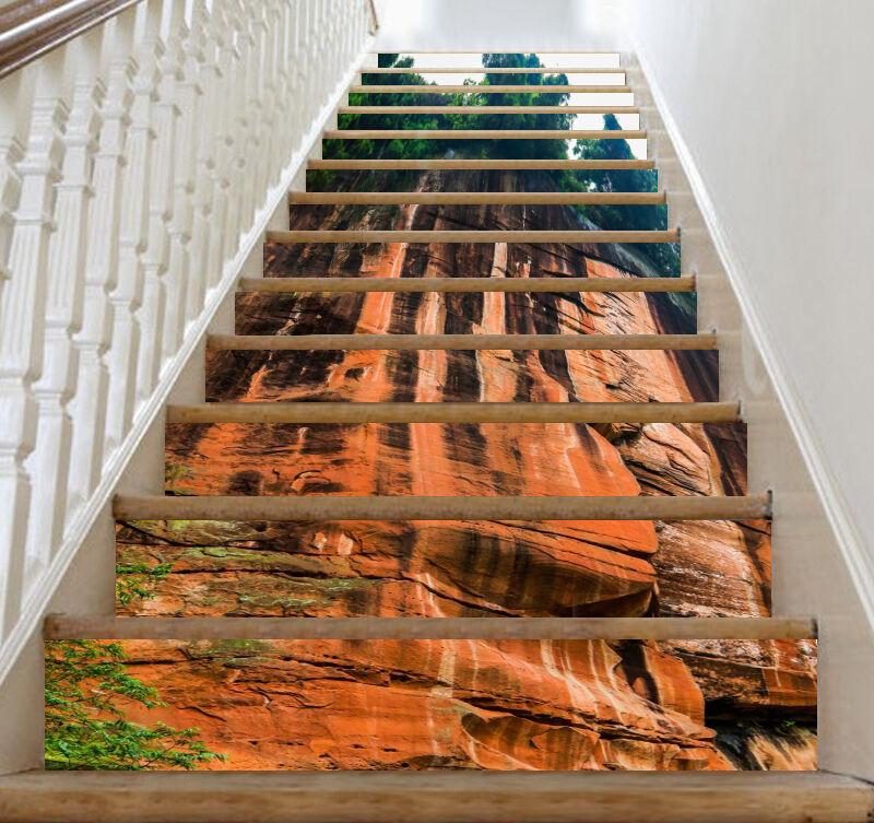 3D giallo cliff 277 Stair Risers Decoration Photo Mural Vinyl Decal Wallpaper AU