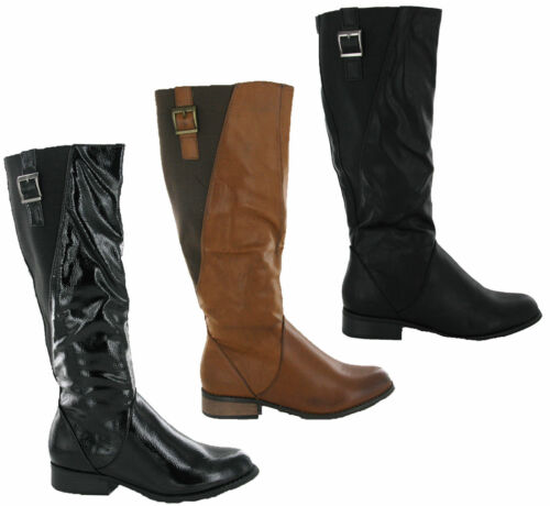 Ella Winter Fashion Elasticated Side Buckle Pull On Womens Riding Boots UK3-8