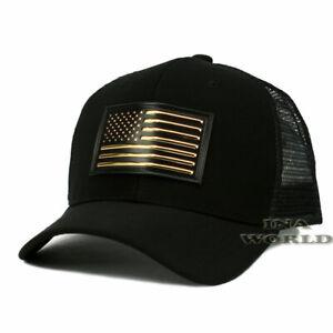 USA-American-Flag-Hat-Pique-Snapback-Hat-Tactical-Mesh-Baseball-Cap-Black-Gold