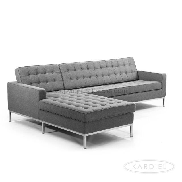 Florence Style Sofa Sectional Left Upholstery n Premium Cadet Grey Cashmere Wool