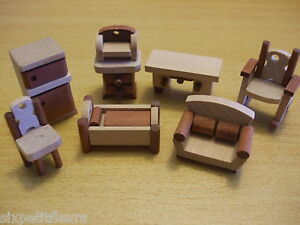 Dolls-House-furniture-WOODEN-1-48th-quarter-scale-TINY-OOAK-fridge-sofa-bed-1-4