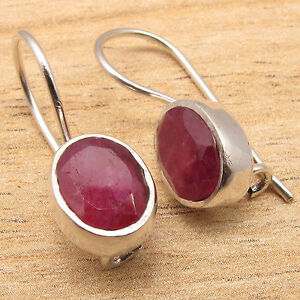 Vente Professionnelle Qualité Handmadevjewelry Deco Boucles D'oreilles, Simulé Ruby Gems, 925 Plaqué Argent-ry Deco Earrings , Simulated Ruby Gems, 925 Silver Plated Fr-fr Afficher Le Titre D'origine