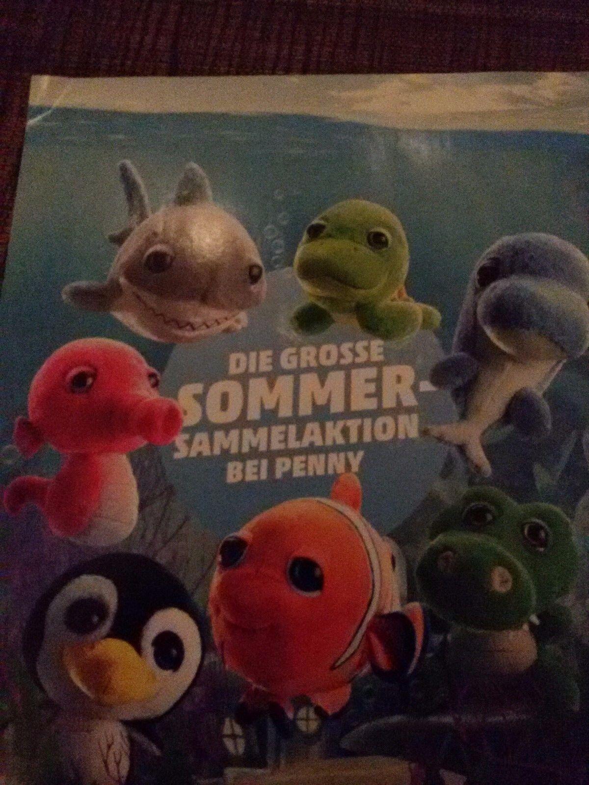 Penny Plüschtiere komplette Sammlung der Meeresbewohner 7 Stück