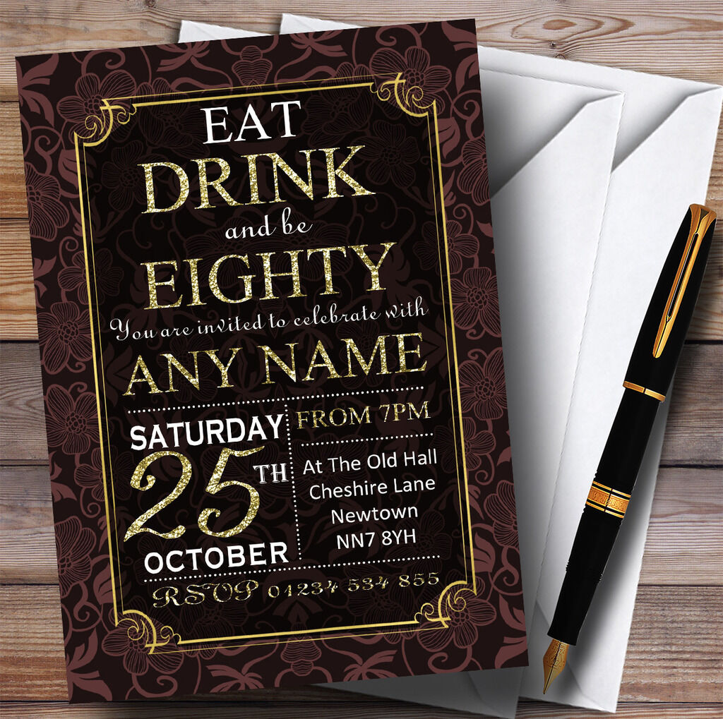 braun & Gold Flowers 80th Personalised Birthday Party Invitations