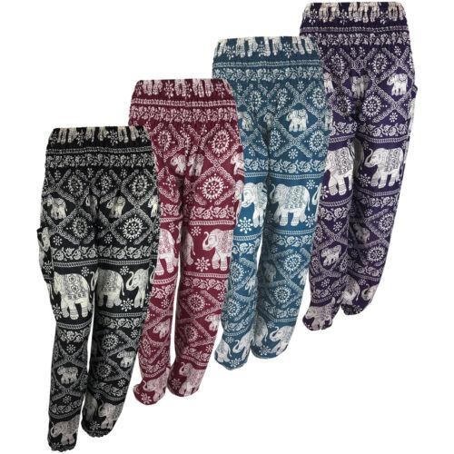 UK STOCKHippie Boho Harem Pantaloni Aladino Yoga da Viaggio Elefante Smock Pantaloni