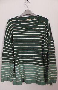 New Women's FatFace Green Tea White Stripe Pullover Jumper Size 10 - 16