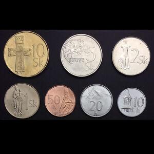 Slovakia-Set-7-Coins-10-20-50-halierov-1-2-5-10-korun-1996-2007-UNC