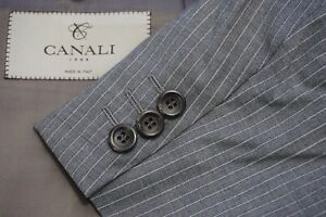 Canali 1934 CURRENT Water Resistant Gray Pinstriped 2 Pc Suit Jacket Pants 46R
