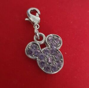 Mickey Minnie Mouse face head charm Disney Silver plated lilac stones