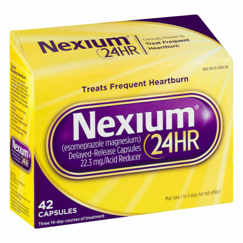 NEXIUM 24HR - 20 MG TREATS FREQUENT HEARTBURN 42 CAPSULES NEW Exp 5/21 1