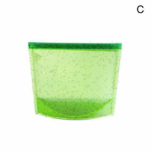 1000ml Silicone Food Storage Bags Reusable Seal Fresh Bag for Fruit Meat Mi N3K1