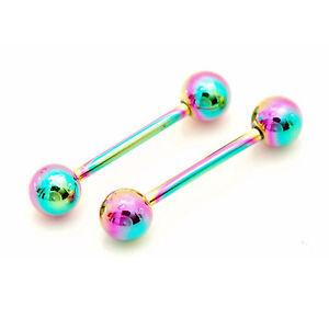 Pair-of-14g-5-8-034-6mm-Ball-Rainbow-Titanium-Tongue-Rings-Nipple-Barbells