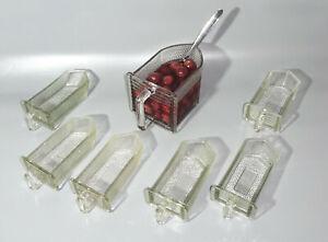 Set 7 vintage Glasschütten Gewürze Vorratsglas Behälter Küche Landhaus Shabby (1