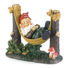 "Slumbering Gnome Statue Garden Lawn Decor Polyresin 12"" x 5"" x 10"" high **NEW**"