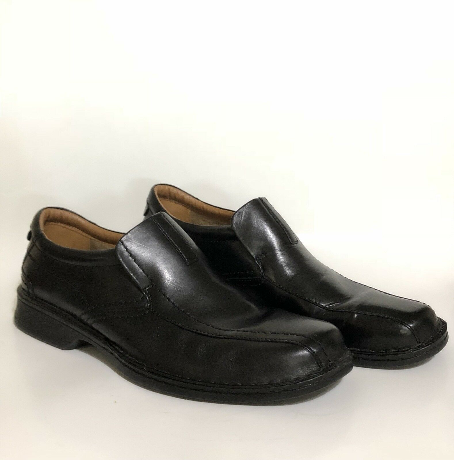 Clarks Escalade Step Slip On Loafers Leather Black Ortholite Cushion Size 13 M