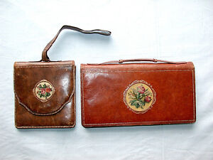 Beautiful-Antique-Austrian-Pair-of-Matching-Leather-Shoulder-Bag-and-Clutch-Bag