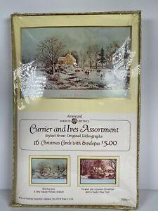 Vtg-American-Greetings-Christmas-CURRIER-amp-IVES-Winter-Scene-16-Cards-Envelopes