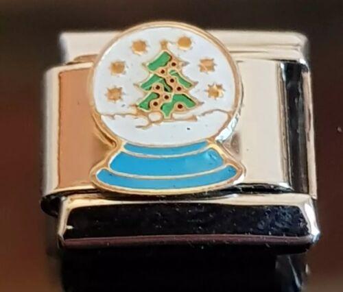 Christmas Snowglobe Italian Charm Link Bracelet Charms