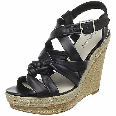 Nine West Nonsense Black Women's Wedge Sandal shoes 9.5