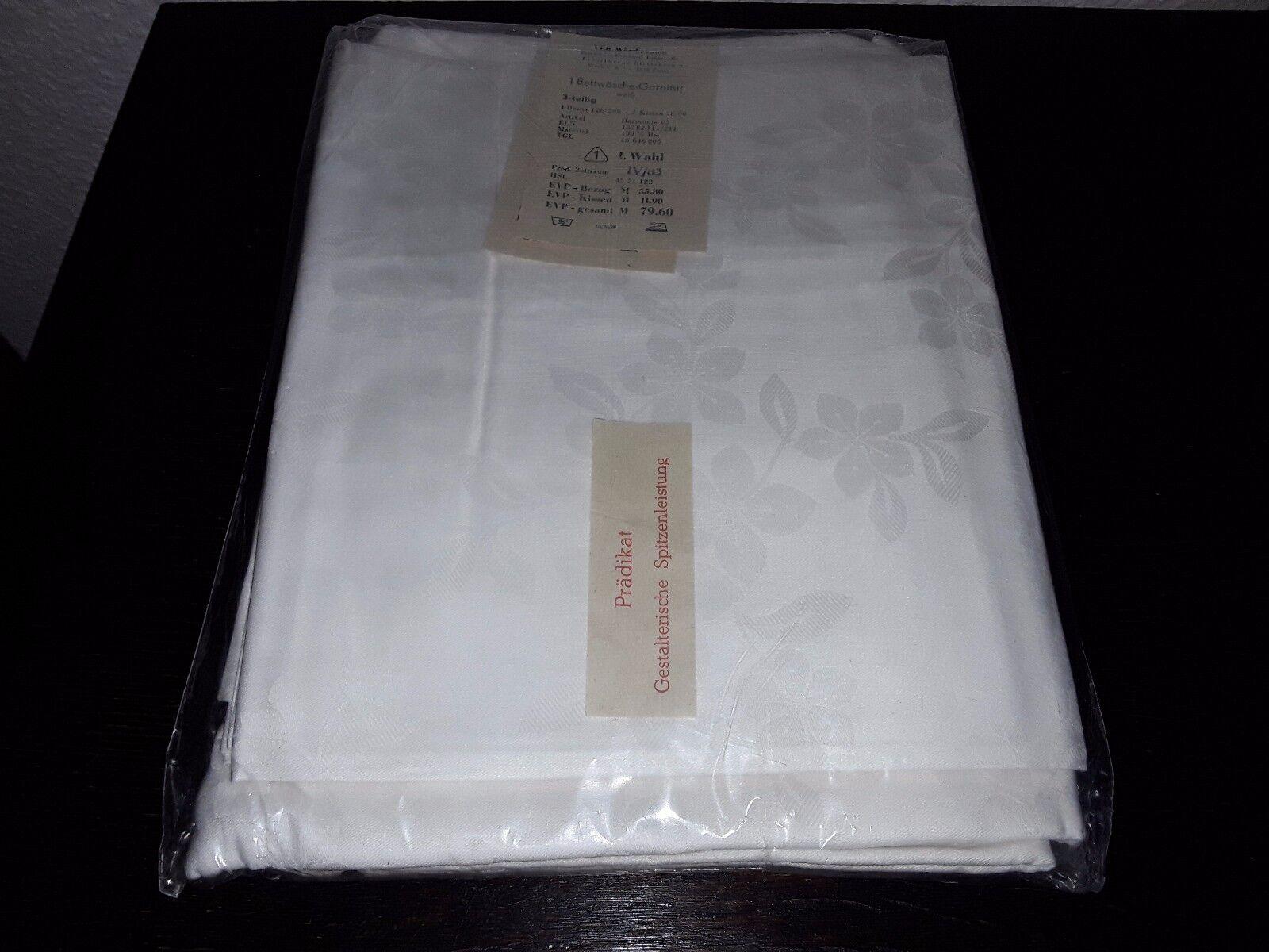 1 Bettwäschegarnitur weiß aus 100% Baumw. 128 x 200 cm und  60 x 78 cm NEU DDR