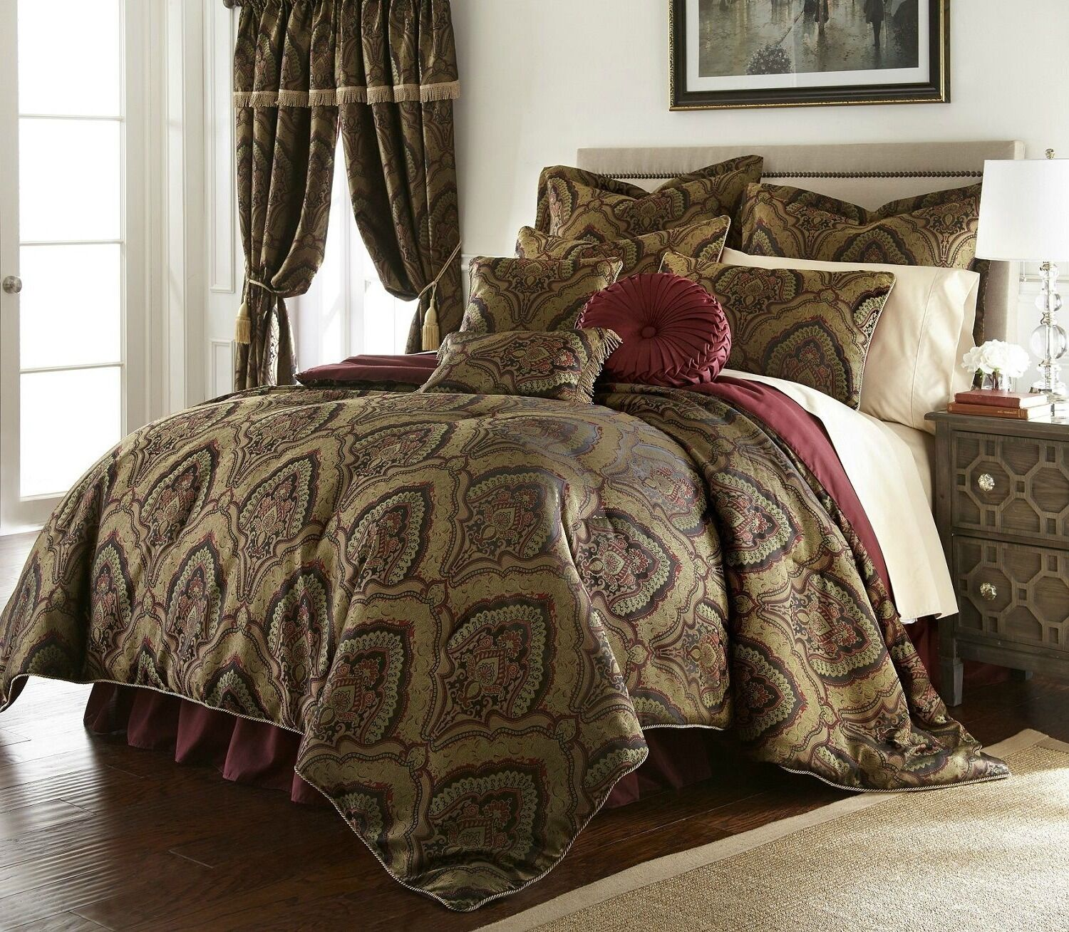 Luxurious Gold Jacquard Paisley Comforter Cal King Queen 9 pcs set or Curtains