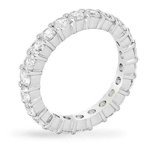 4 TCW 3 mm Round Cut CZ Silver Stackable Eternity Bridal Wedding Band Ring 5-10