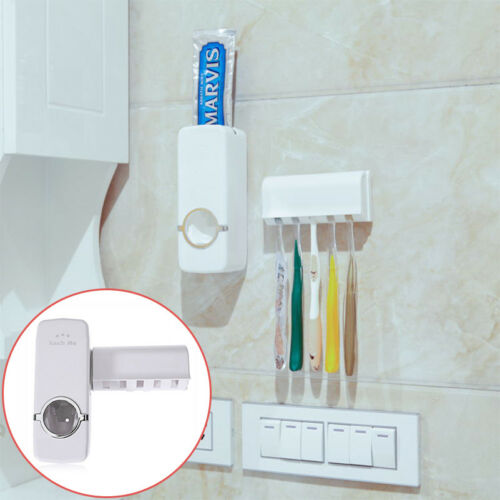New Auto Automatic Toothpaste Dispenser+5 Toothbrush Holder Set Wall Mount Stand