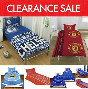 Clearance-Football-Club-Kids-Bedding-Single-Duvet-Quilt-Cover-Bed-Set-REDUCED