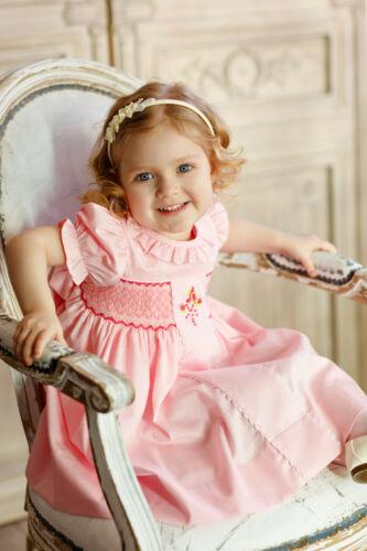 """limitada. Aurora Royal /""""Rose Absolue/"""" tradicional mano-SMOCKED VESTIDO de algodón"""